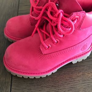 Toddler girls pink Timberlands
